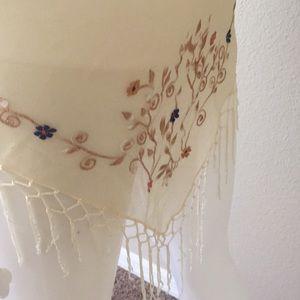 Vintage Floral Embroidery Chiffon Sarong Shawl